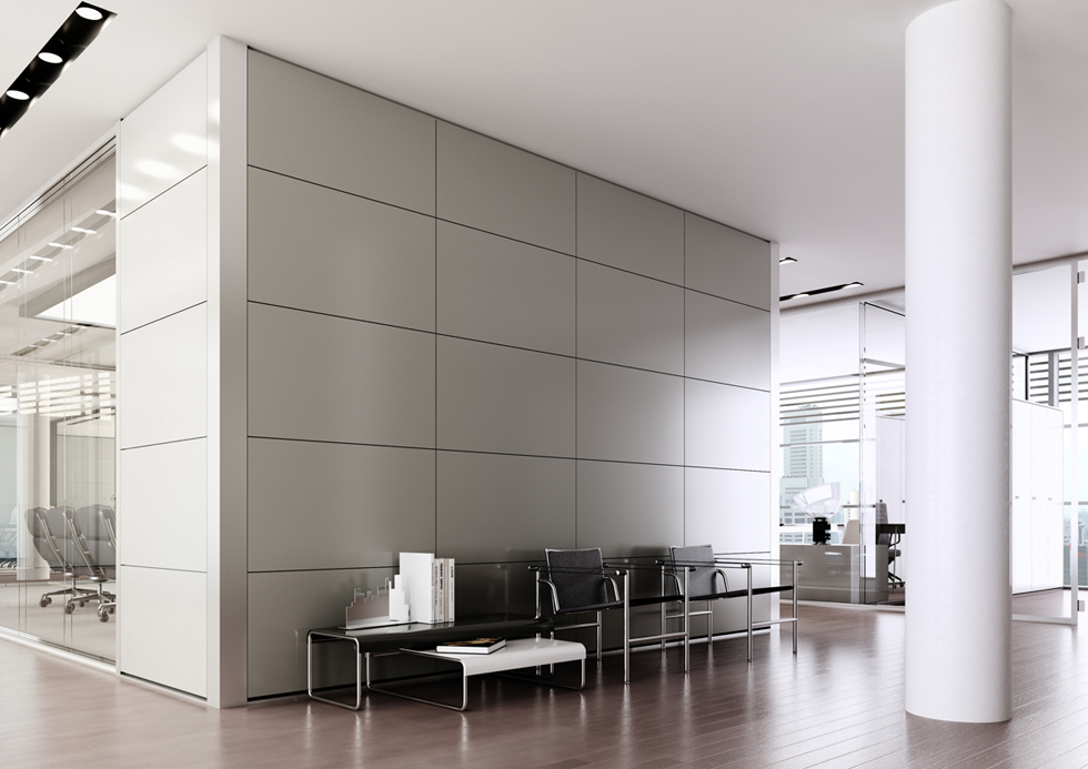 Pareti mobili in laminato e metallo le pareti ufficio for Pareti mobili da ufficio