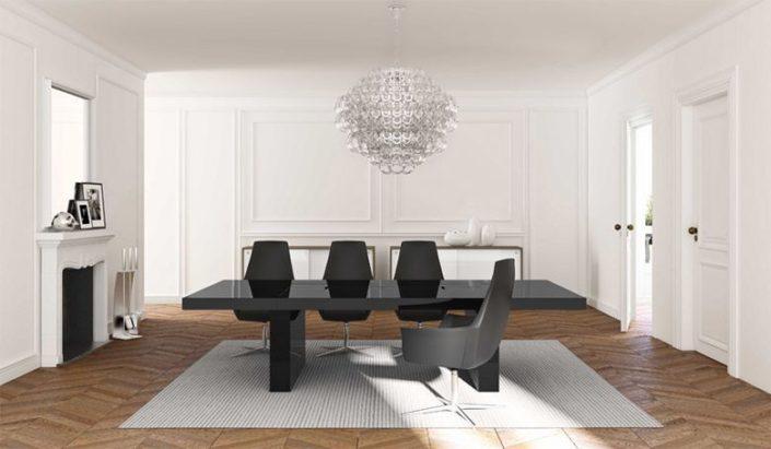 Tavolo riunioni nero in e mobili ufficio bianchi